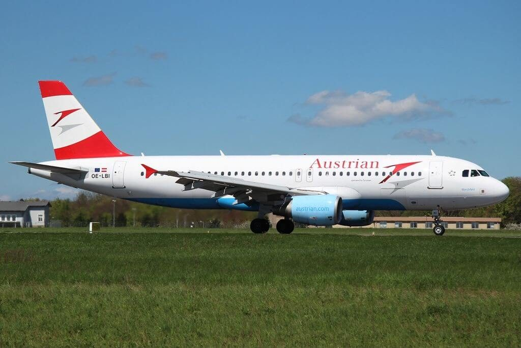 Austrian Airlines Airbus A320 214 OE LBI Marchfeld at Luxembourg Findel International Airport