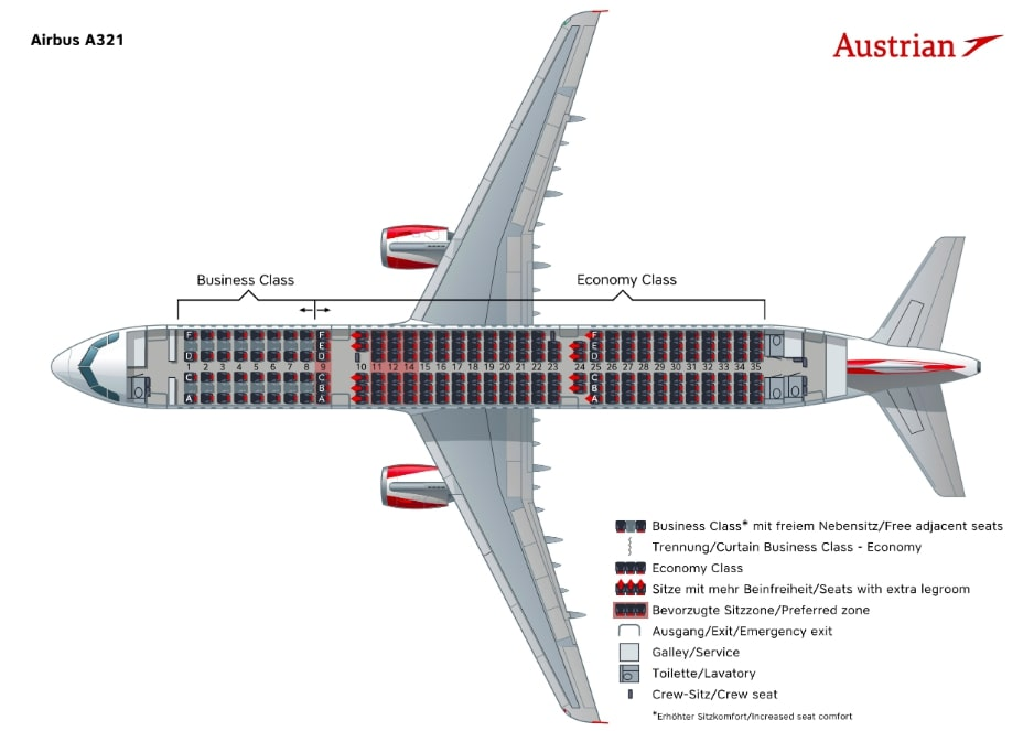 Austrian Airlines Airbus A321 Seating Plan