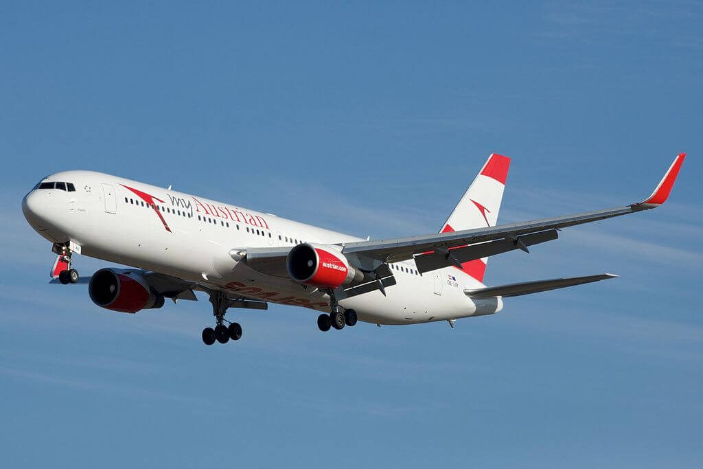 Austrian Airlines Boeing 767 3Z9ERWL OE LAY Japan at Toronto Pearson International Airport