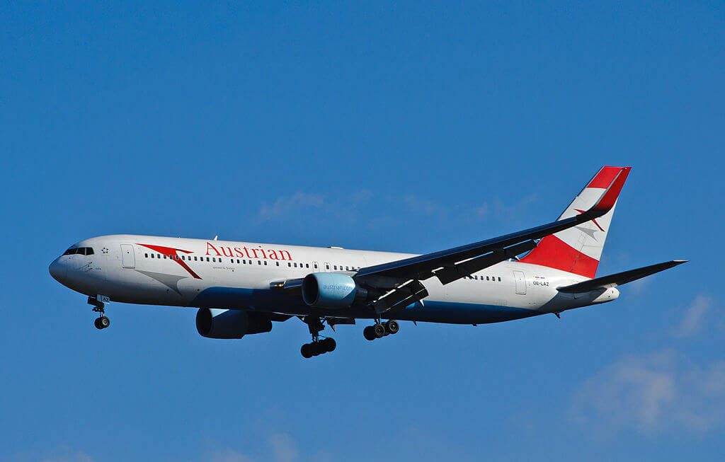Austrian Airlines Boeing 767 3Z9ERWL OE LAZ India at Washington Dulles International Airport