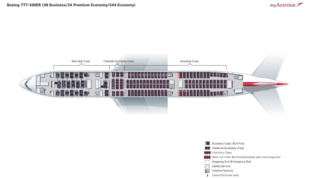 Austrian Airlines Boeing 777 200ER Seating Plan