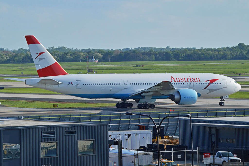 Austrian Airlines Boeing 777 2Q8ER OE LPE Blue Danube at Washington Dulles International Airport