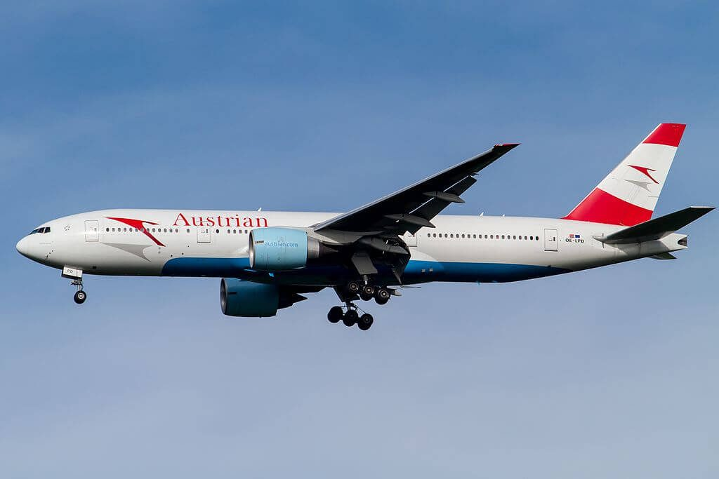 Austrian Airlines Boeing 777 2Z9ER OE LPD Spirit of Austria at Narita International Airport