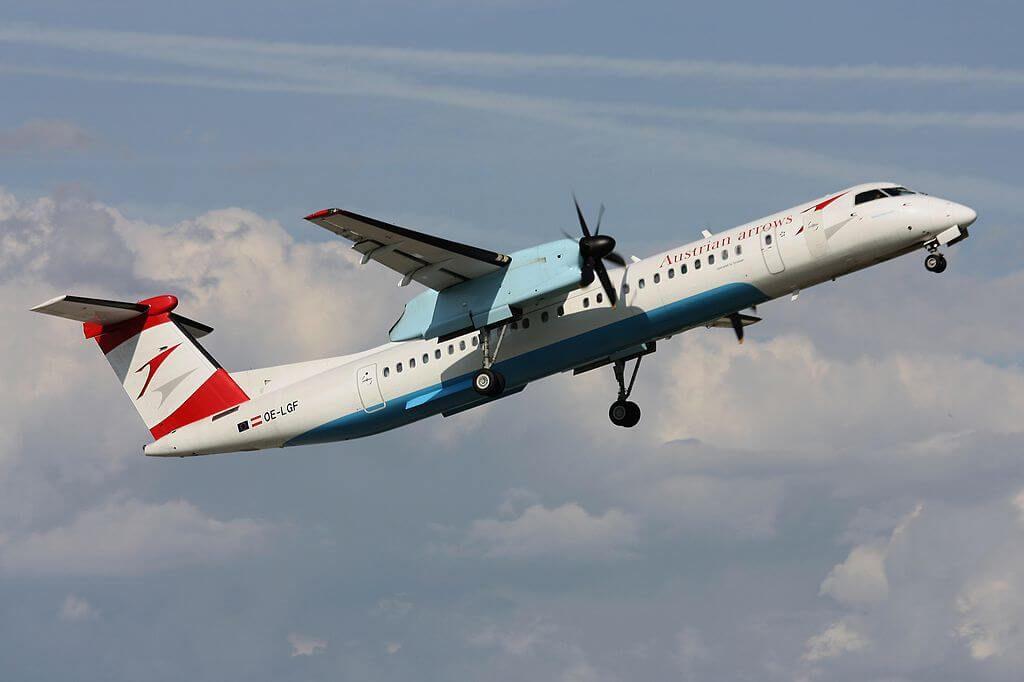Austrian Airlines Bombardier DHC 8 402 Q400 OE LGF Niederösterreich at Frankfurt Airport