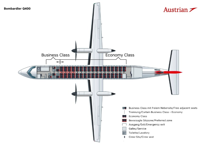 Austrian Airlines Bombardier Dash 8 Q400 Seating Plan