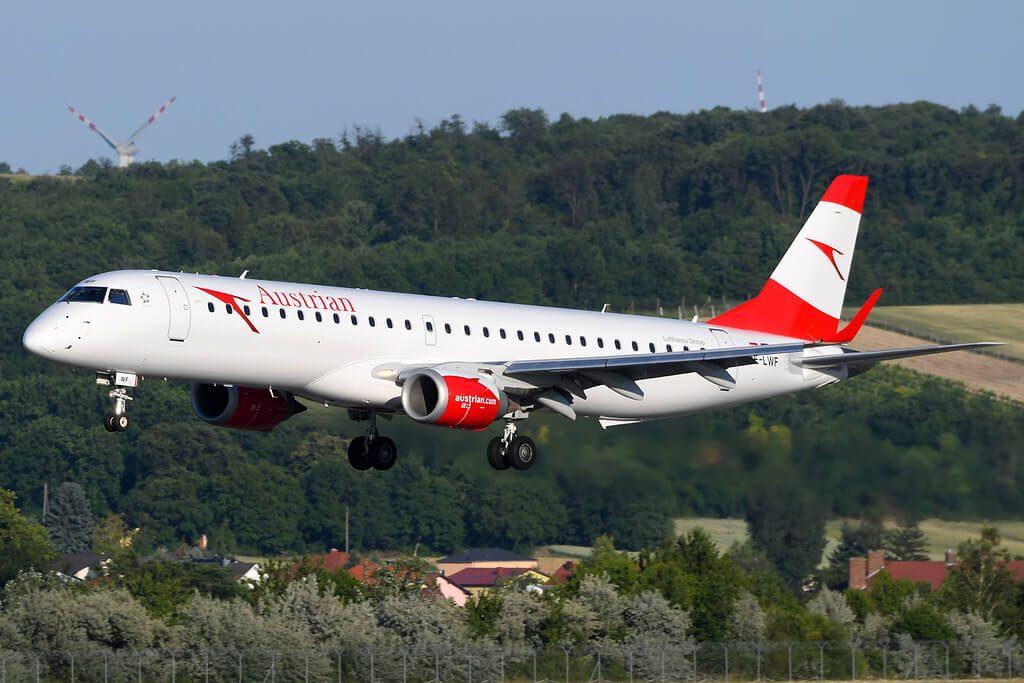 Austrian Airlines Embraer 195 OE LWF at Vienna Schwechat