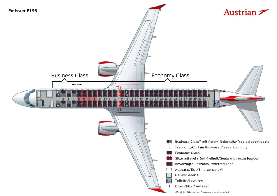 Austrian Airlines Embraer 195 Seating Plan