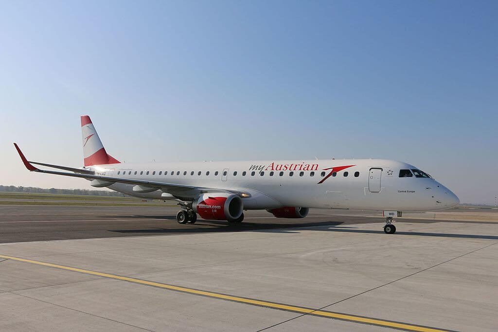 Austrian Airlines Embraer ERJ 195LR ERJ 190 200 LR OE LWD Central Europe at Vienna International Airport