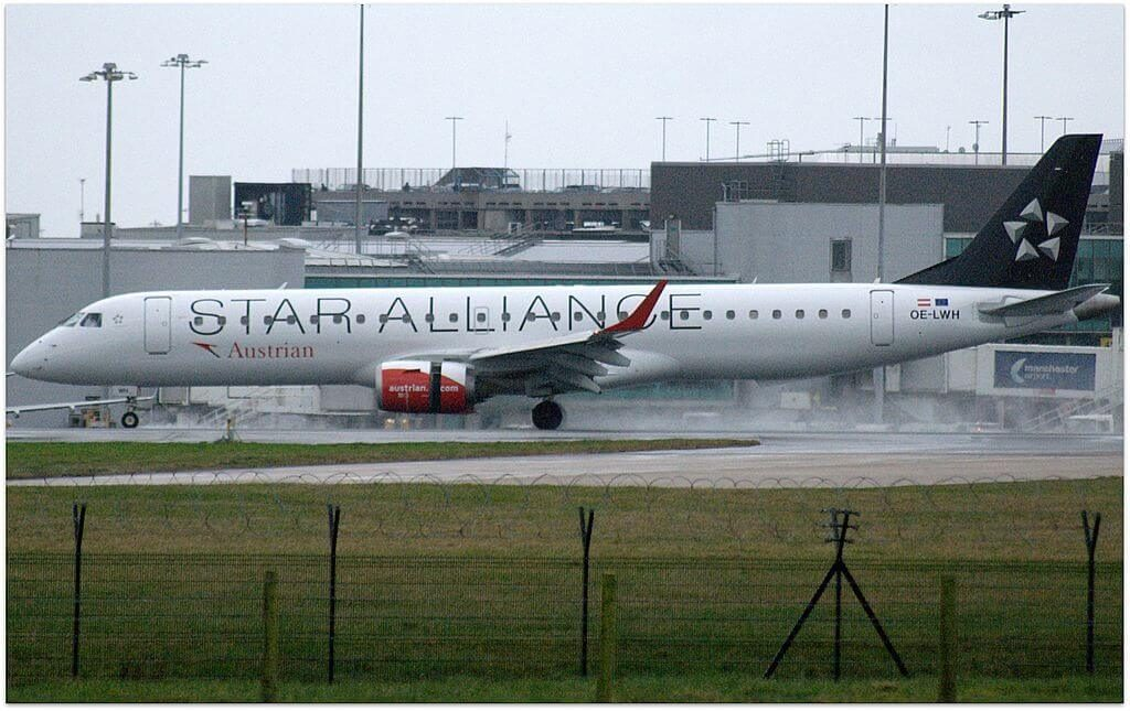 Austrian Airlines Embraer ERJ 195LR ERJ 190 200 LR OE LWH Star Alliance Livery at Manchester Airport