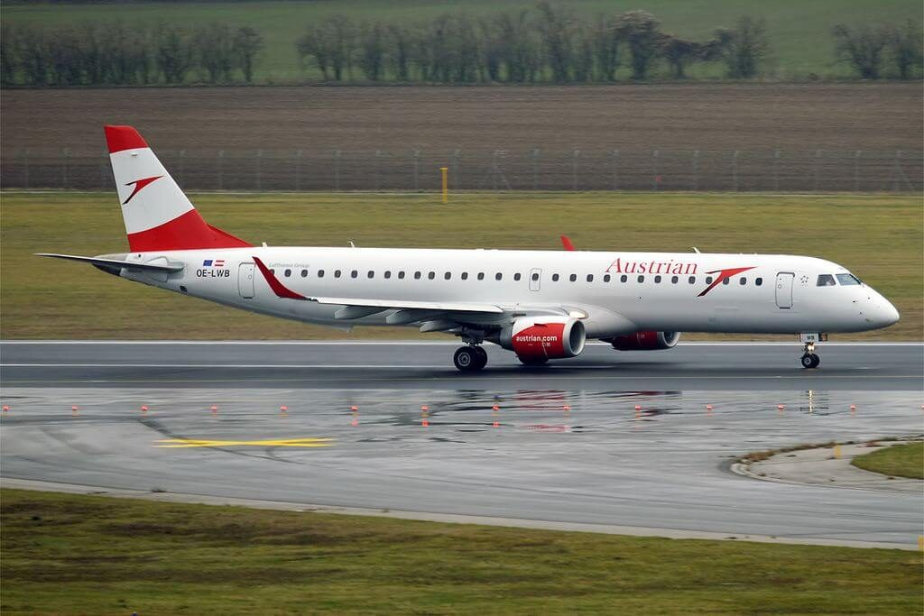 Austrian Airlines OE LWB Embraer ERJ 195LR at Vienna International Airport