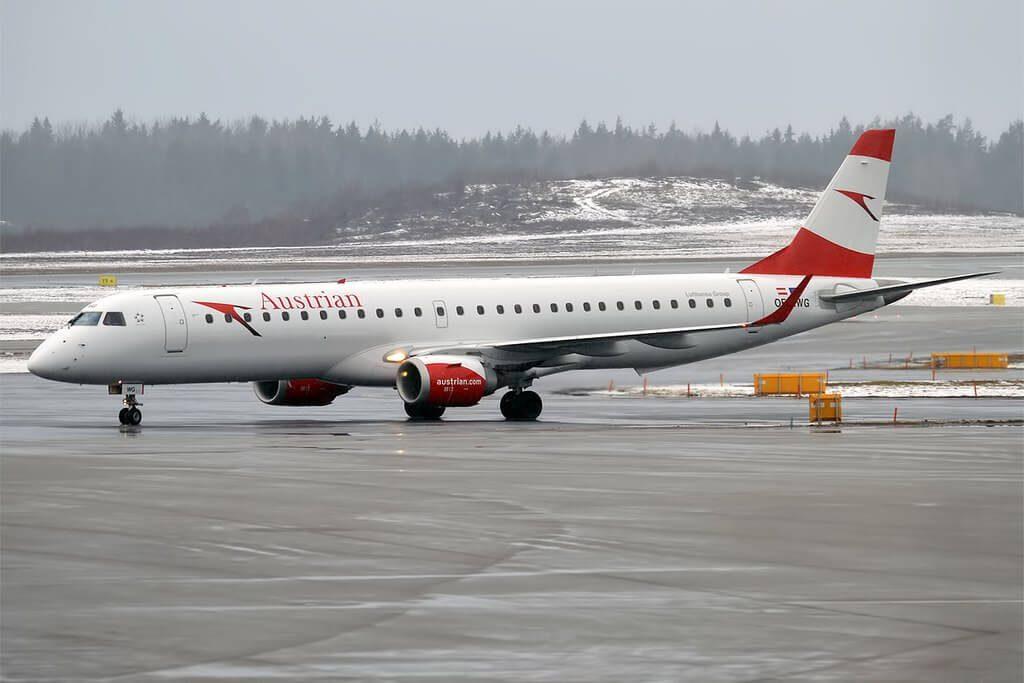 Austrian Airlines OE LWG Embraer ERJ 195LR at Stockholm Arlanda Airport