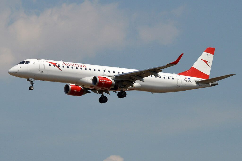 Austrian Airlines OE LWJ Embraer ERJ 195LR at Frankfurt Airport