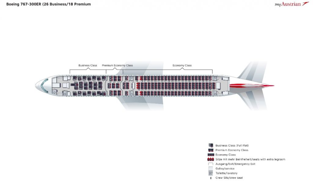 Austrian Boeing 767 300ER Seating Plan