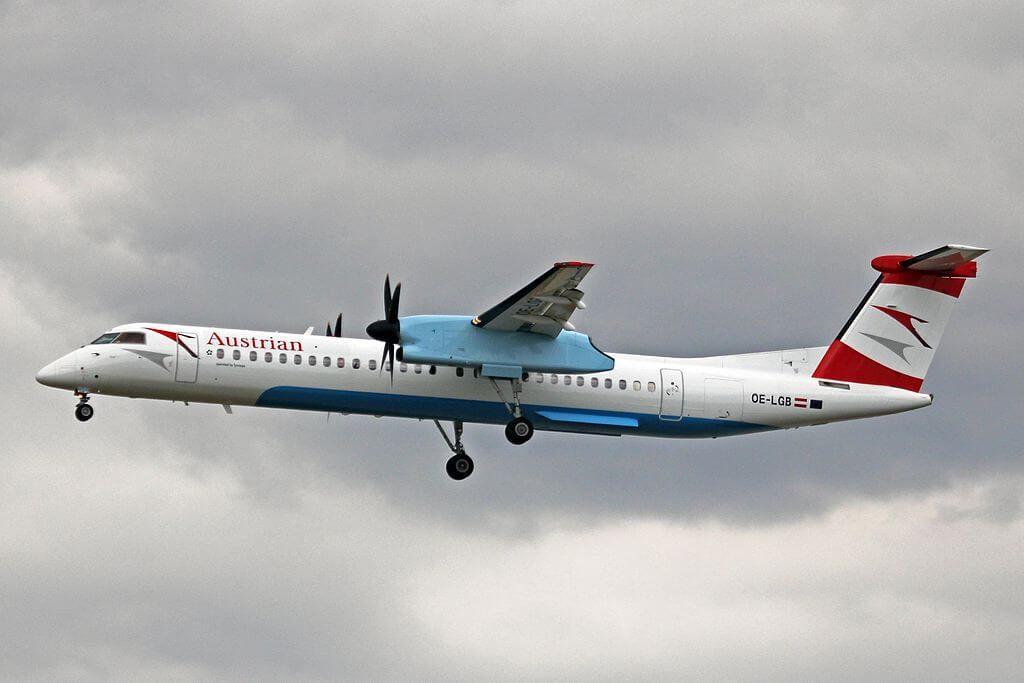 Austrian De Havilland Canada DHC 8 402Q Dash 8 OE LGB Tirol at Frankfurt Airport