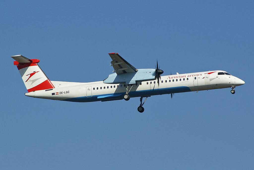 Austrian De Havilland Canada DHC 8 402Q Dash 8 OE LGC Land Salzburg at Frankfurt Airport