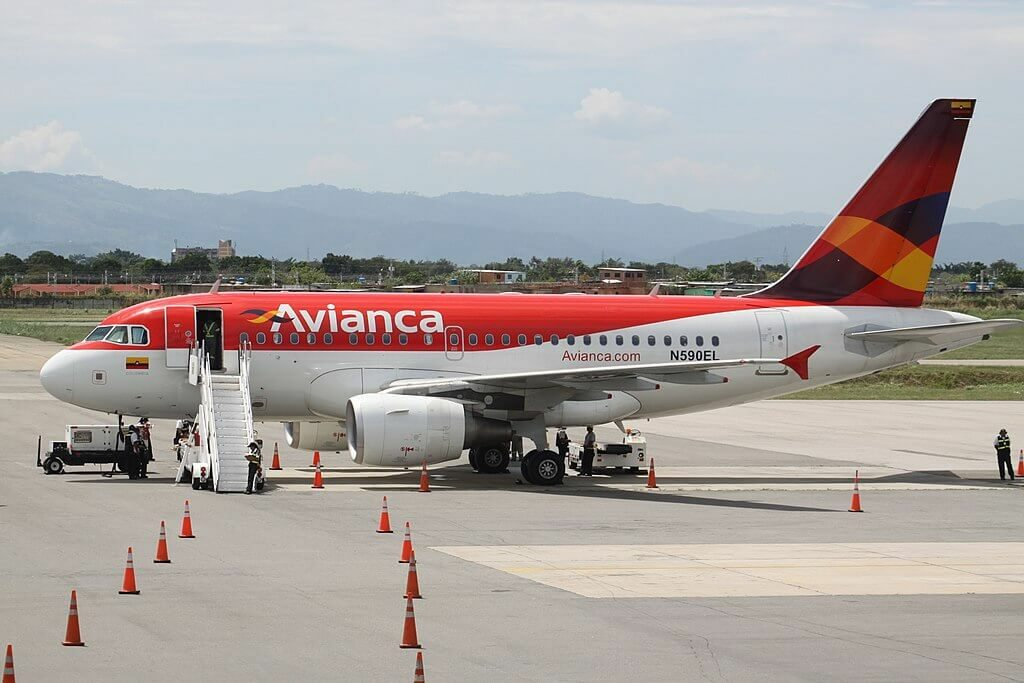 Avianca Airbus A318 111 N590EL at Arturo Michelena International Airport