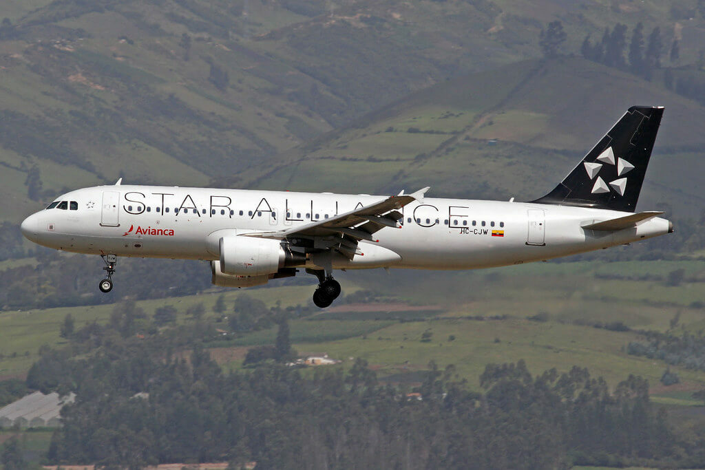 Avianca Airbus A320 214 HC CJW Star Alliance Livery at Mariscal Sucre International Airport