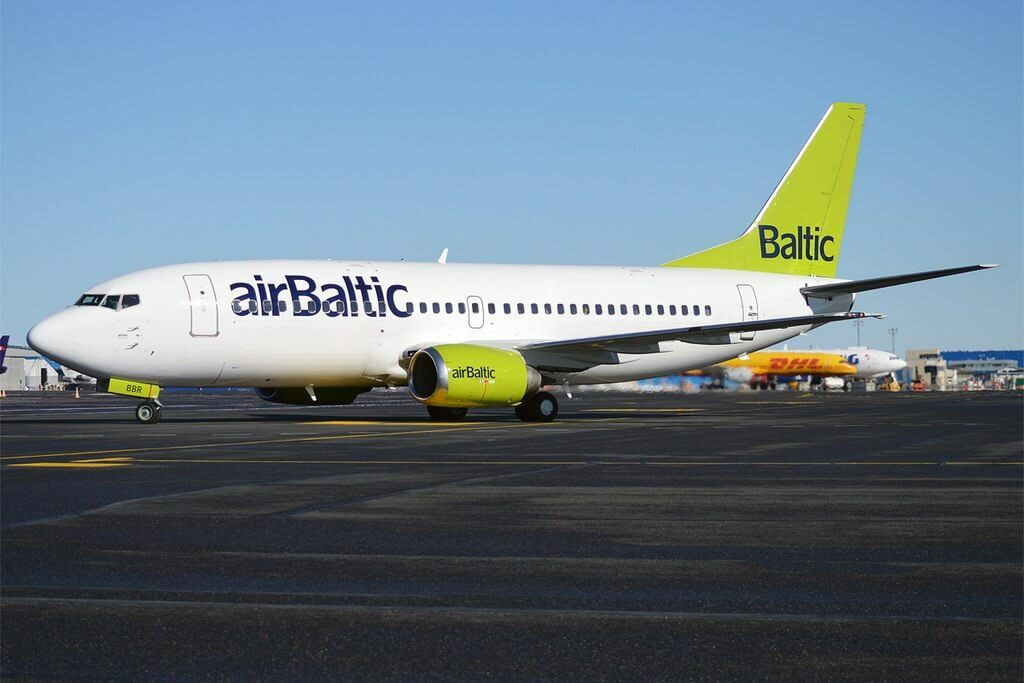 Boeing 737 31S YL BBR AirBaltic at Tallinn Airport
