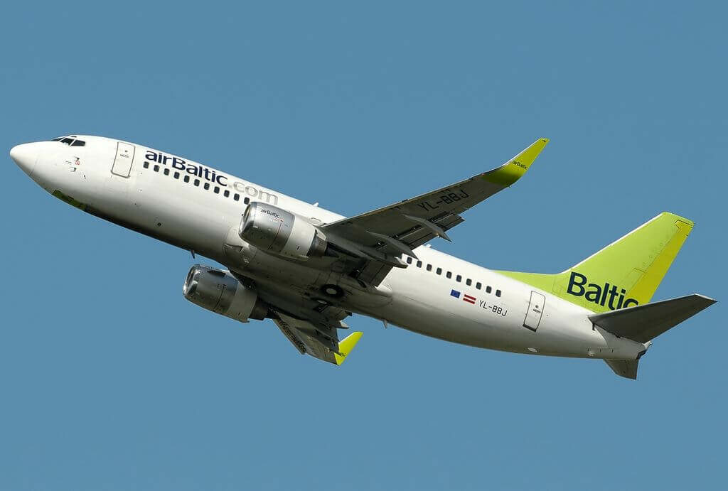 Boeing 737 36QWL YL BBJ AirBaltic at Fiumicino Airport