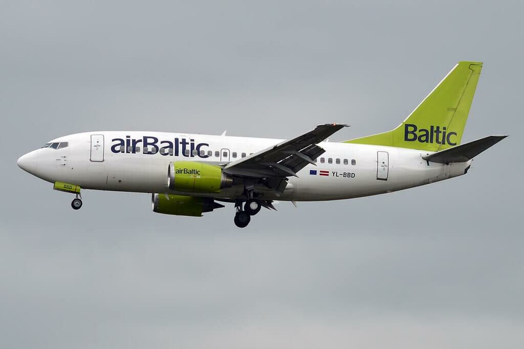Boeing 737 53S YL BBD AirBaltic at Tallinn Airport