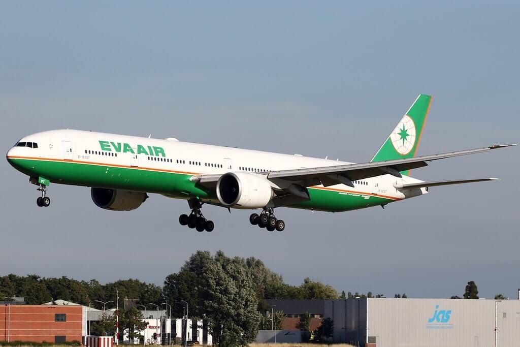 Boeing 777 35EER B 16707 EVA Air at Amsterdam Airport Schiphol
