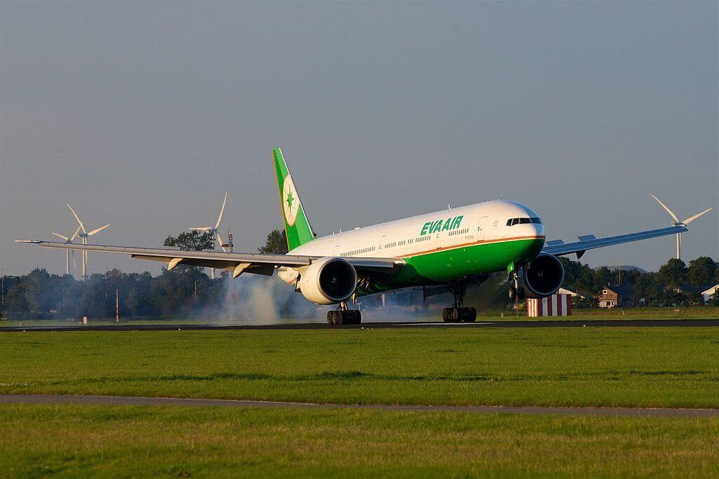 Boeing 777 35EER B 16709 EVA Air at Amsterdam Airport Schiphol