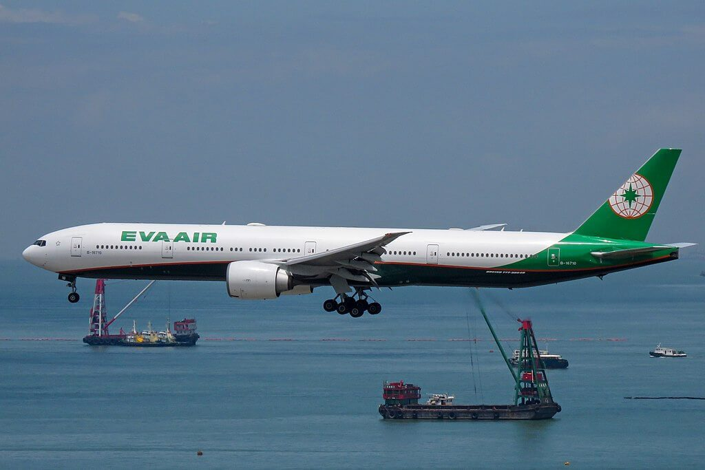 Boeing 777 35EER B 16710 EVA Air at Hong Kong International Airport