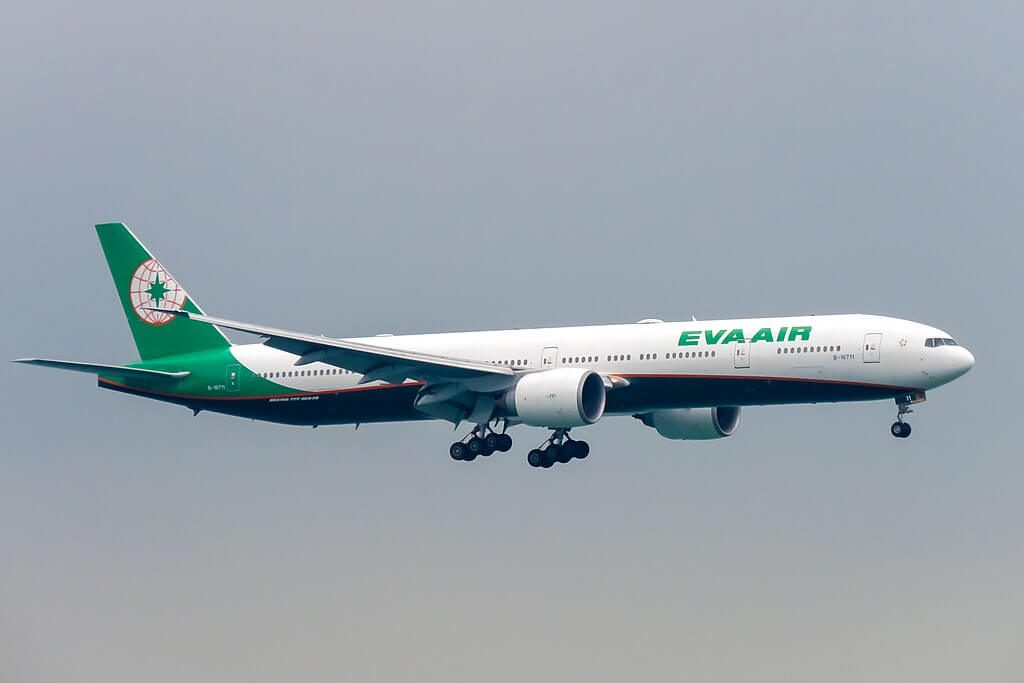Boeing 777 35EER B 16711 EVA Air at Hong Kong International Airport