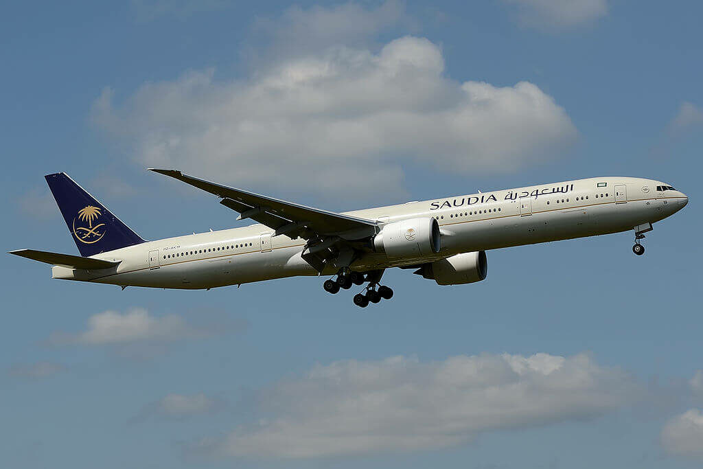 Boeing 777 368ER HZ AK19 Saudi Arabian Airlines at London Heathrow Airport 1