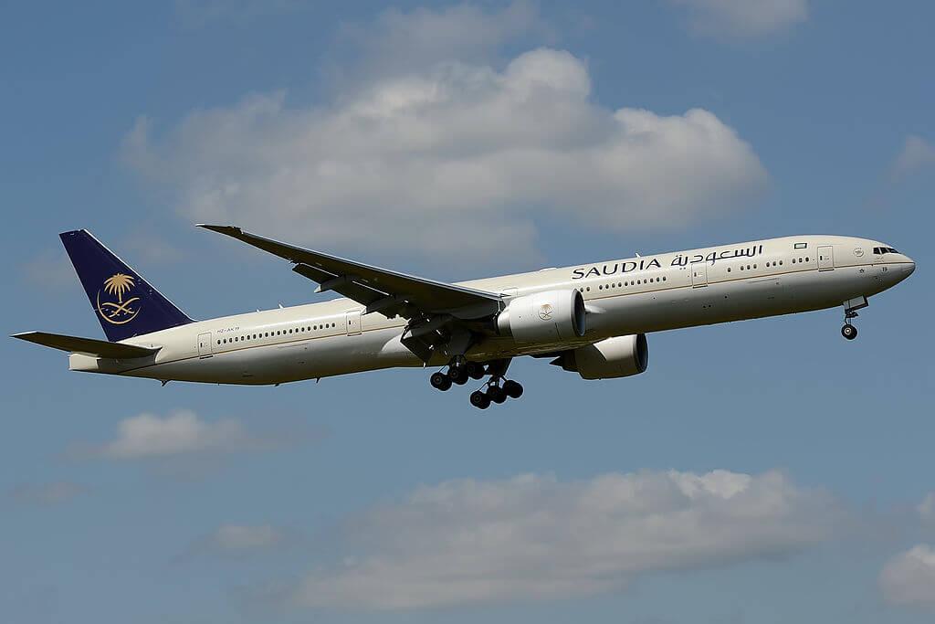 Boeing 777 368ER HZ AK19 Saudi Arabian Airlines at London Heathrow Airport 1