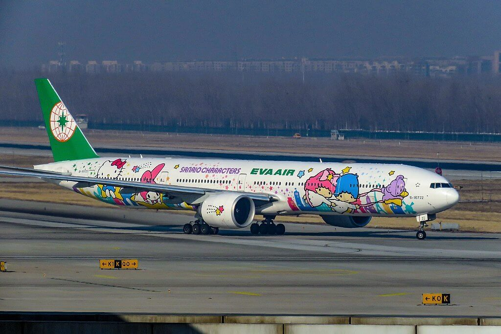 Boeing 777 36NER EVA Air B 16722 Hello Kitty Shining Star Livery at Beijing Capital International Airport