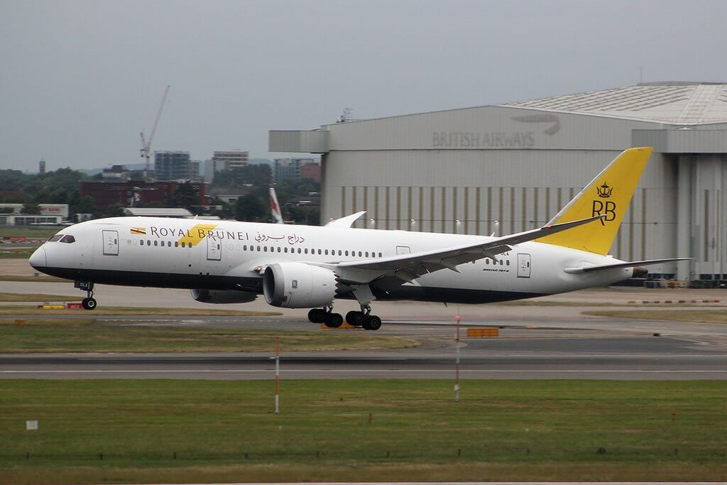 Boeing 787 8 Dreamliner Royal Brunei V8 DLA at London Heathrow Airport