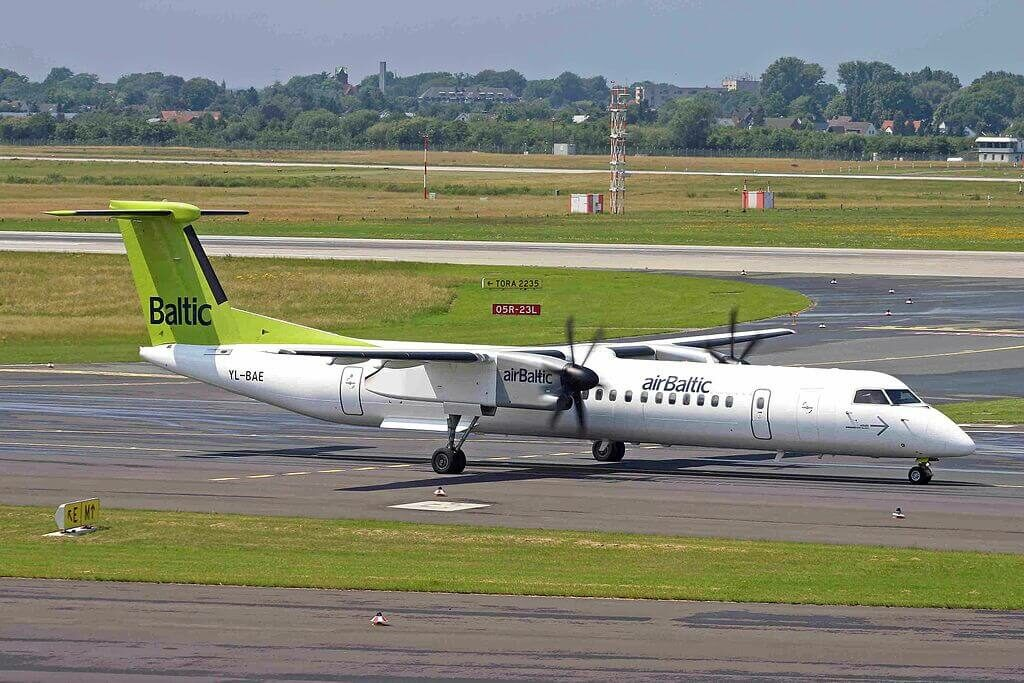 Bombardier DHC 8 402Q Dash 8 YL BAE AirBaltic at Düsseldorf Airport