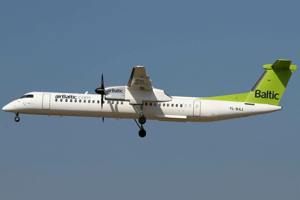 Bombardier DHC 8 402Q Dash 8 YL BAJ AirBaltic at Frankfurt Airport