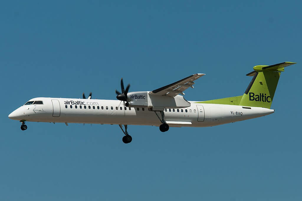 Bombardier DHC 8 402Q Dash 8 YL BAQ AirBaltic at Frankfurt Airport