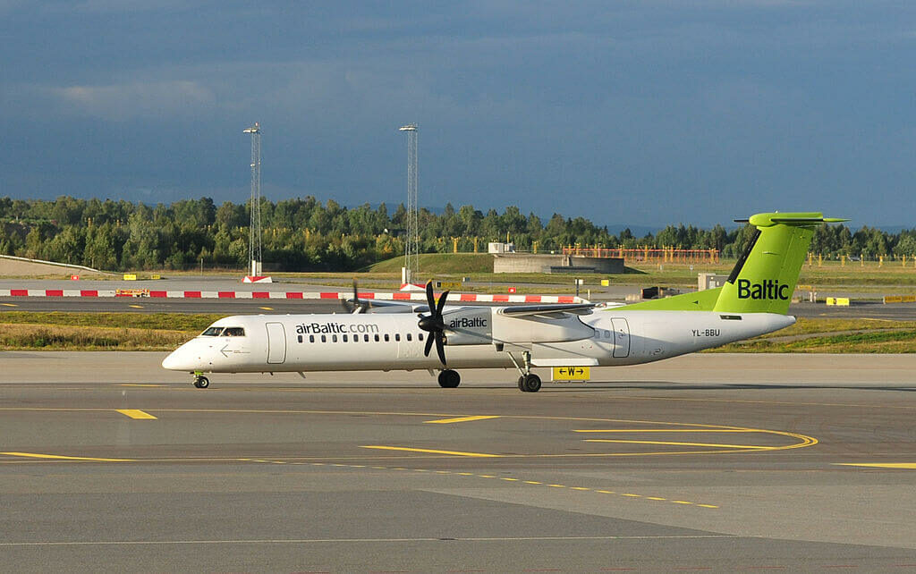 Bombardier DHC 8 402Q Dash 8 YL BBU AirBaltic at Oslo Airport Gardermoen