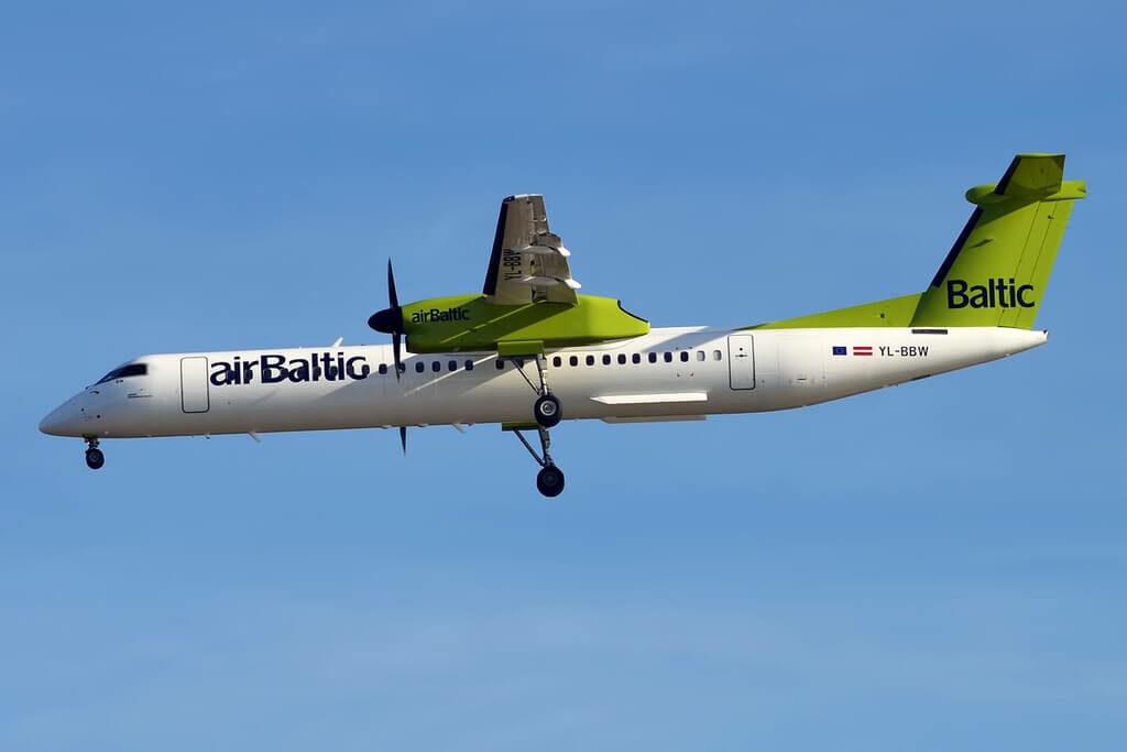 Bombardier DHC 8 402Q Dash 8 YL BBW AirBaltic at Tallinn Airport