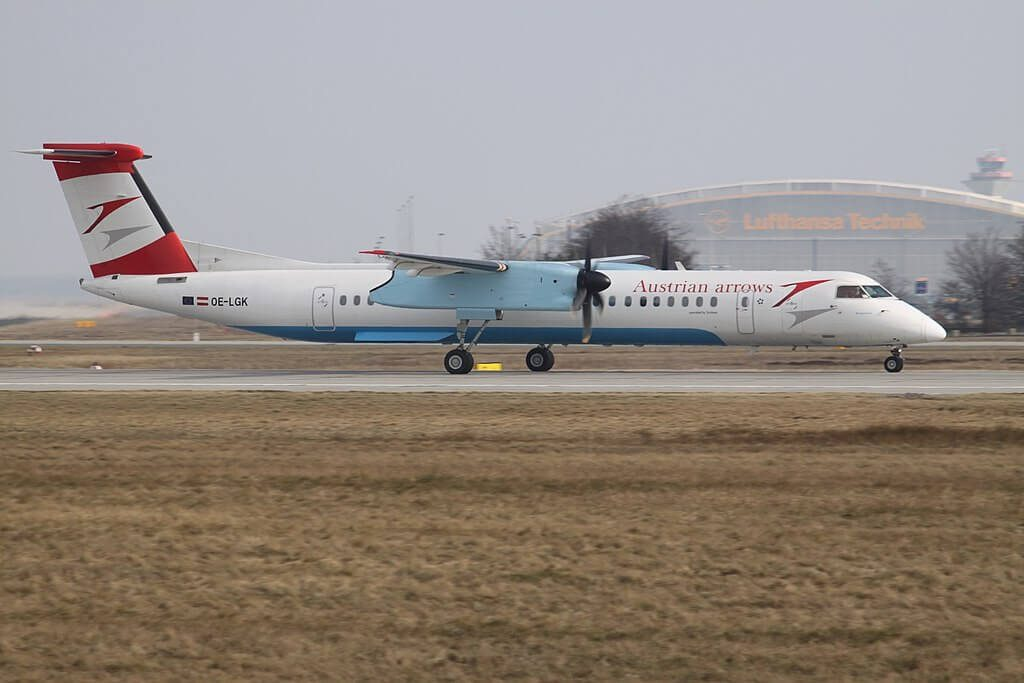 De Havilland Canada DHC 8 402Q Dash 8 OE LGK Burgenland Austrian Arrows at Frankfurt Airport