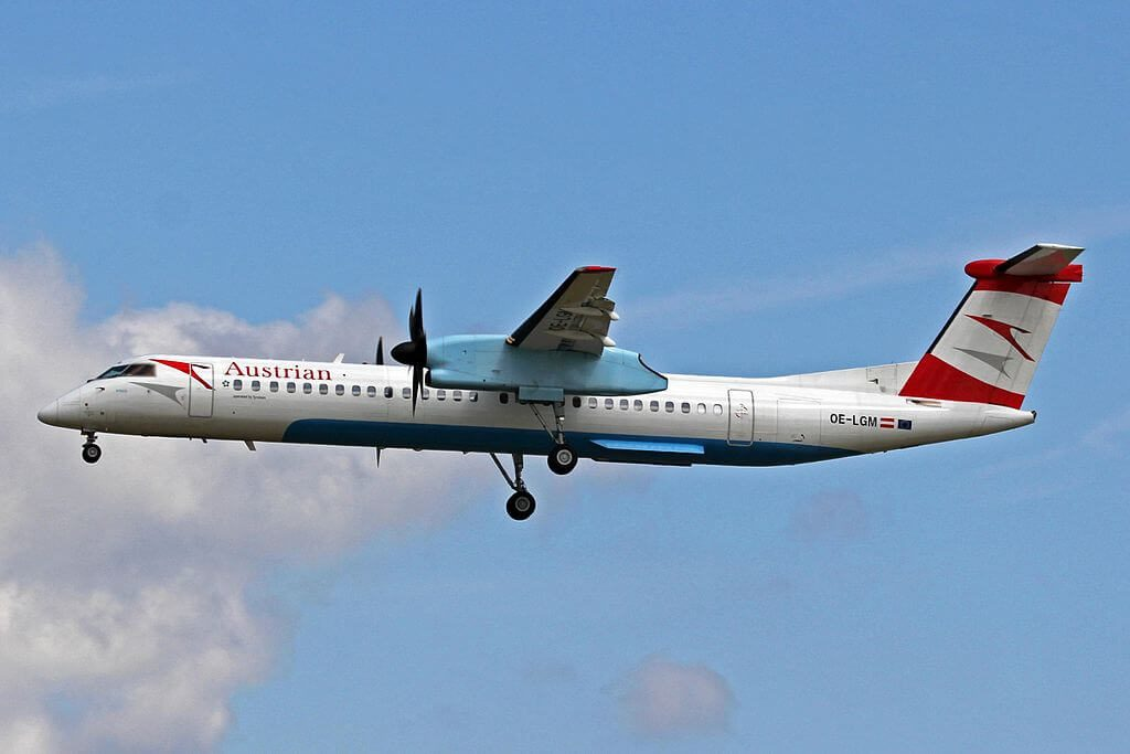 De Havilland Canada DHC 8 402Q Dash 8 OE LGM Villach Austrian Airlines at Frankfurt Airport