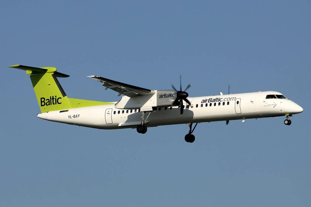 De Havilland Canada DHC 8 402Q Dash 8 YL BAY AirBaltic aircraft at Brussels Airport