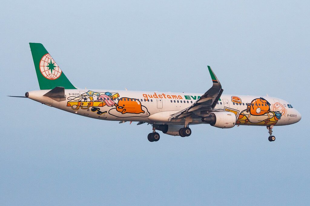 EVA Air Airbus A321 211WL B 16205 Gudetama 002 Livery at Macau International Airport