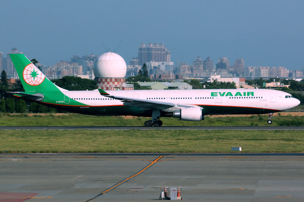 EVA Air Airbus A330 302 B 16338 at Taipei Taoyuan Airport
