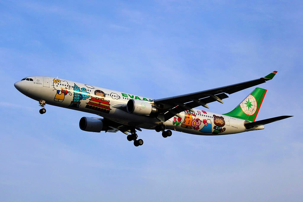 EVA Air Airbus A330 302X B 16333 Hello Kitty Around The World Livery at Shanghai Hongqiao International Airport