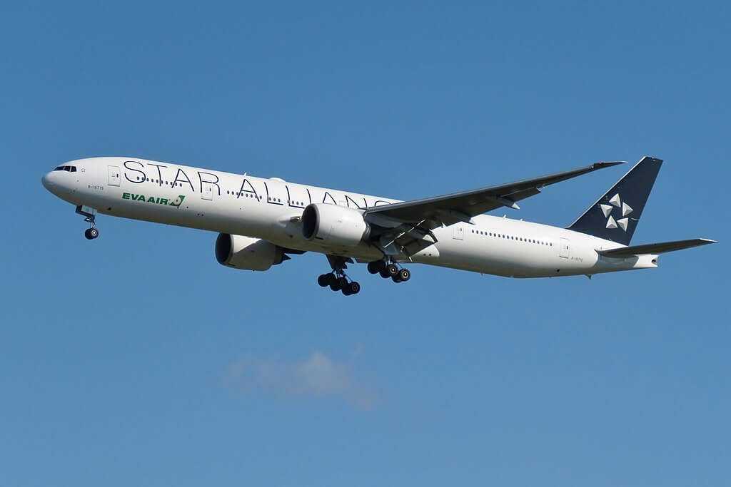 EVA Air B 16715 Boeing 777 35EER STAR Alliance Livery at Taiwan Taoyuan International Airport