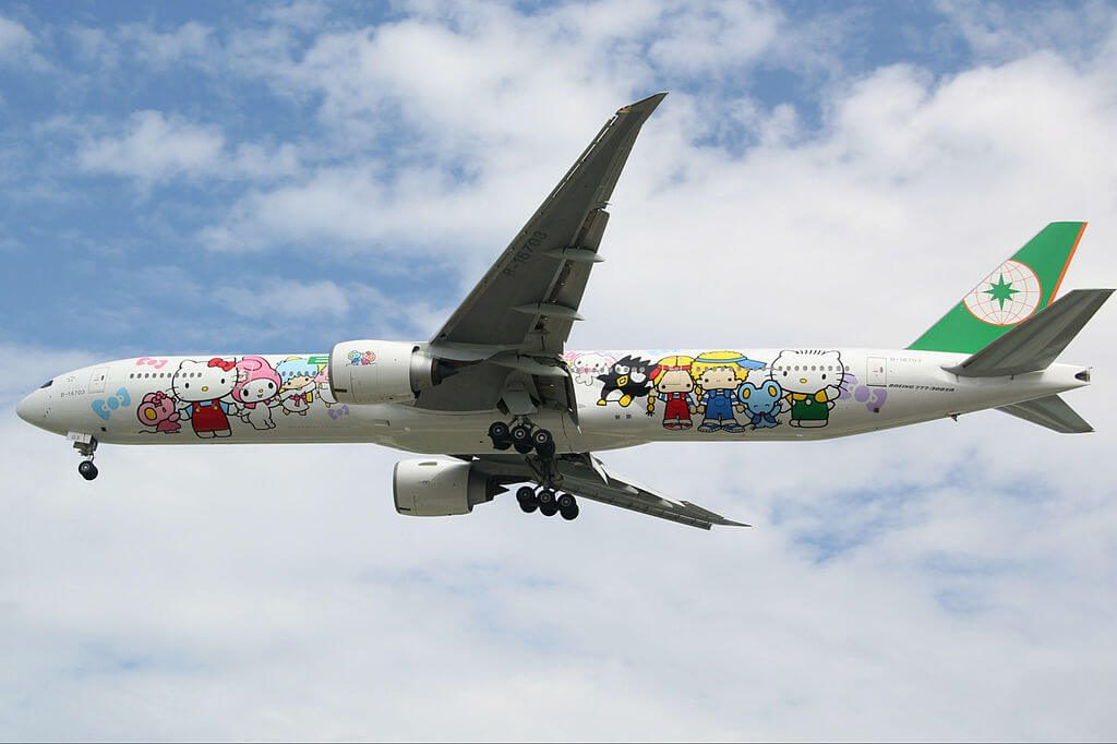 EVA Air Boeing 777 35EER B 16703 Hello Kitty Sanrio Family Livery at Tan Son Nhat International Airport