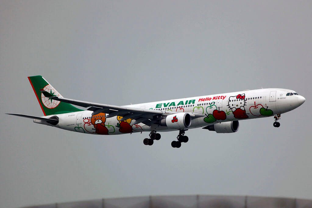 EVA Airways Airbus A330 302 B 16332 Hello Kitty Loves Apples Livery at Hong Kong Chek Lap Kok International Airport
