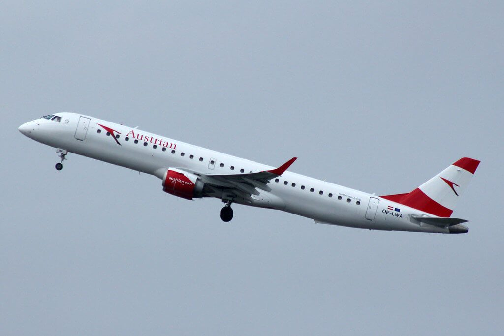 Embraer 195 Austrian Airlines OE LWA at Manchester Airport