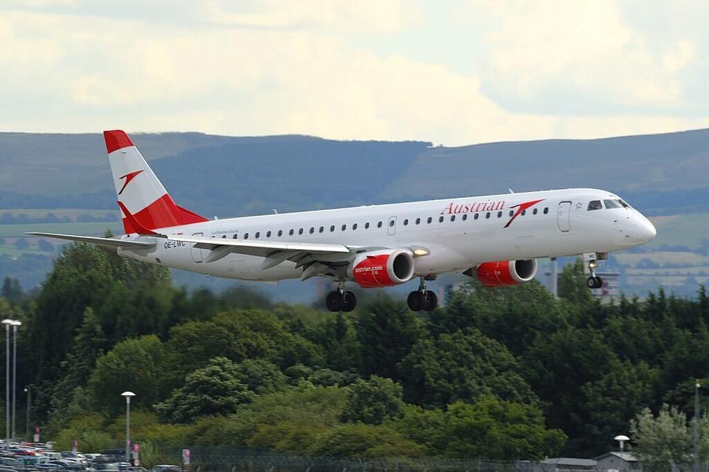 Embraer ERJ 195LR ERJ 190 200 LR OE LWC Austrian Airlines aircraft at Manchester Airport