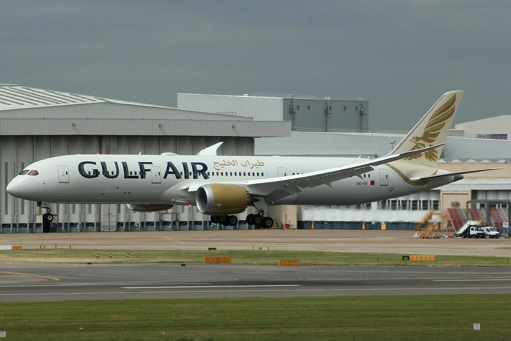 Gulf Air Boeing 787 9 Dreamliner A9C FB at London Heathrow Airport