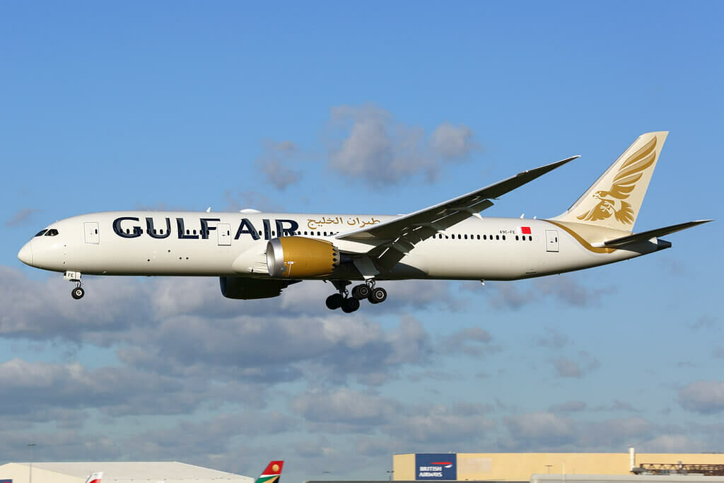Gulf Air Boeing 787 9 Dreamliner A9C FE at LHR